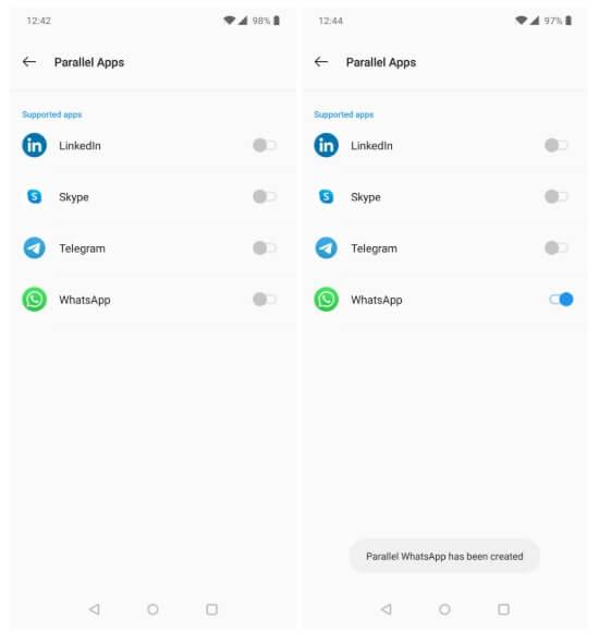 Setari Dual Messenger WhatsApp OnePlus