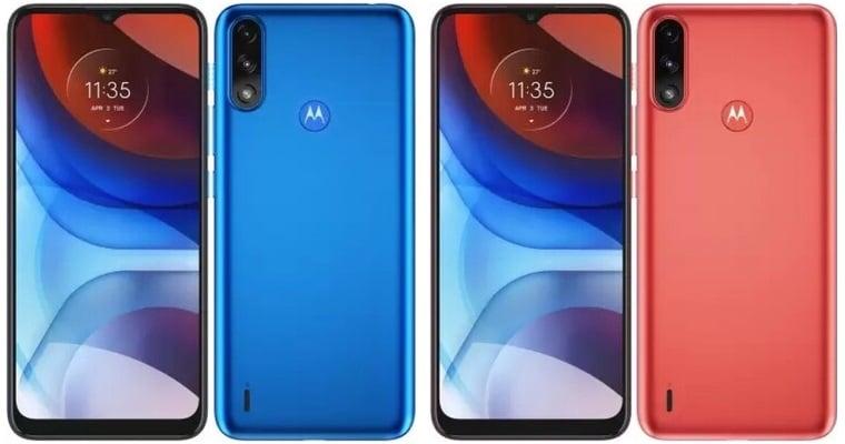 Motorola Moto E7 Power culori albastru si rosu
